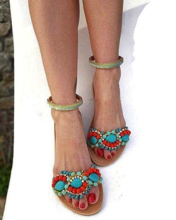 handmade sandals luxury sandal Greek Leather Sandals Boho sandals Indian sandals slides Feather sandals Madagascar Bohemian sandals