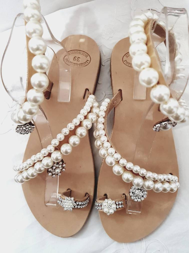 Greek sandals pearl sandals leather sandals wedding sandals pearls ...