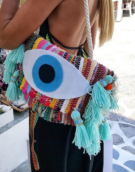Handmade bag,Greek carpet bag,colorful bag,evil eye bag,shoulder bag,Big tassels bag,boho bag,Ethnic bag Rug rag bag,woven kilim,bohemian