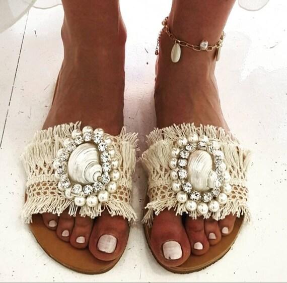 slides sandalssea shell sandalscrystal sandalswedding sandalshandmade slidesqenuine leather sandalsflatsluxurywomen Greek sandals