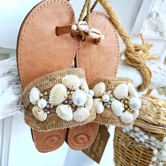 Greek sandals/seashells sandals/boho sandals/gladiator  sandals/women shoes/wedding sandals/handmade sandals/crystal  sandals/summer shoes