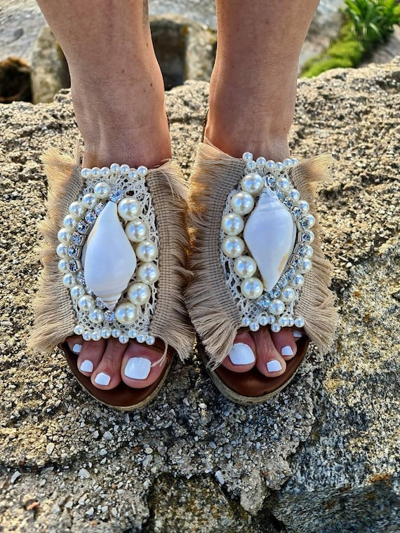 Heeled Sandals slides/slip on Sandals with heels/shell Sandals/pearls Sandals/bohemian shoes/handmade/crystal sandals/luxury sandals/wedding