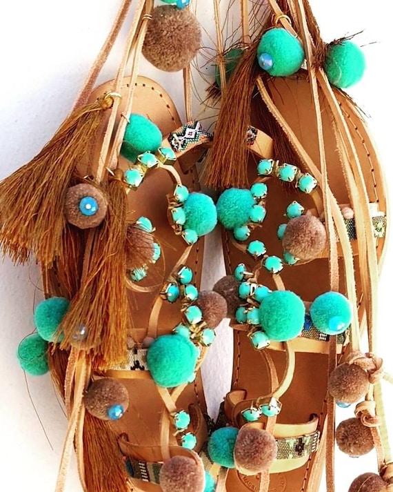 boho Greek sandals,pompoms sandals,luxury sandals tassels,ethnic,gladiators sandals,women sandals,handmade sandals,strappy sandals