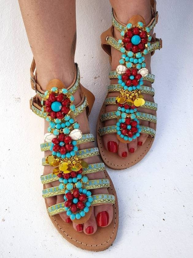 f309866eee2e60 Greek sandals handmade sandals strappy sandals crystals sandals boho sandals women  shoes summer shoes beads sandals flats bohemian sandals