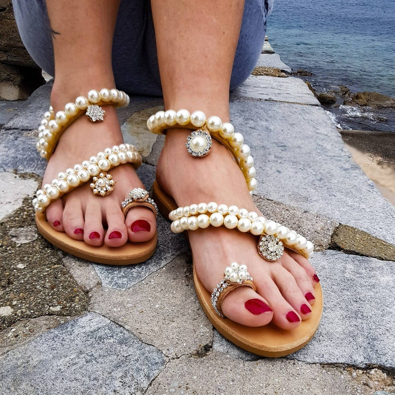 0394f5adccc Greek sandals pearl sandals leather sandals wedding