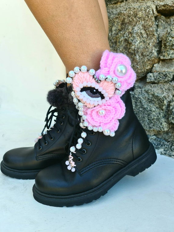 Evil eye boots/evil eyes shoes/embellished/embroidered/boho boots/bohemian shoes/ethnic boots/luxury shoes/crocheted boots/pearls shoes