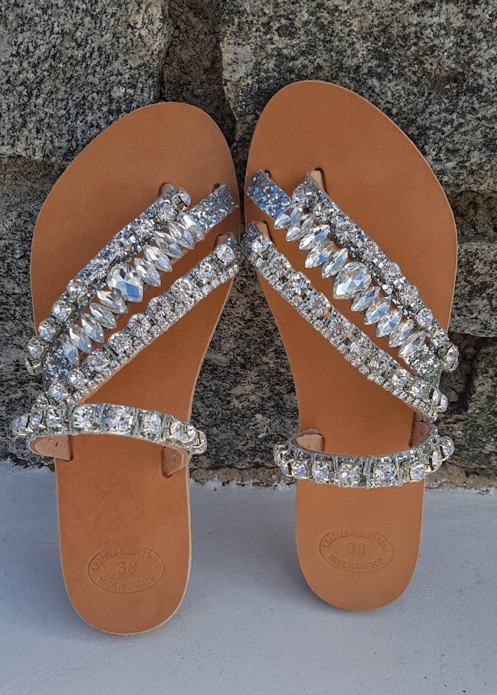 Greek sandals/crystals rhinestones