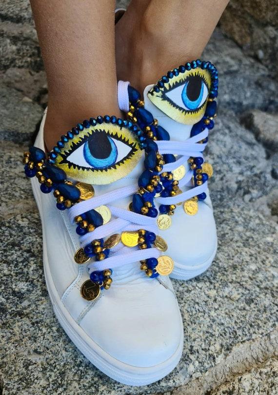 Evil eye shoes/Evil eyes sneakers/handmade sneakers/embellished athletic shoes/crystals sneakers/bohemian shoes/boho sneakers/leather shoes