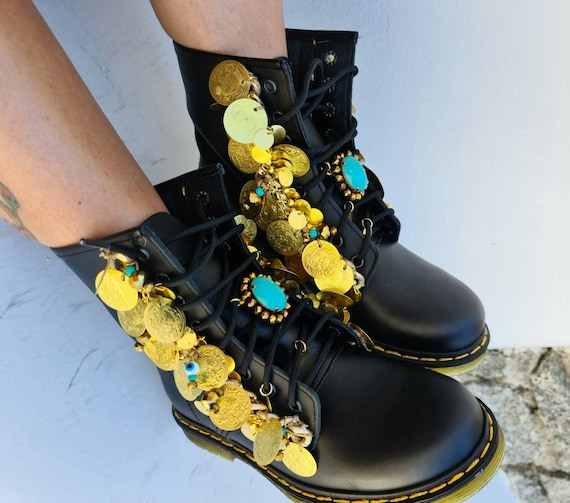 Greek boots/genuine leather boots/coins boots/evil eye boots/crystal beads boots/handmade boots/women boots/boho boots/gypsy boots/ethnic