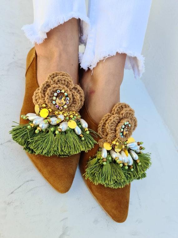Greek leather shoes/fringes shoes handmade crochet shoes/bohemian shoes/boho shoes/crystals shoes/pearls shoes/women shoes/coins shoes