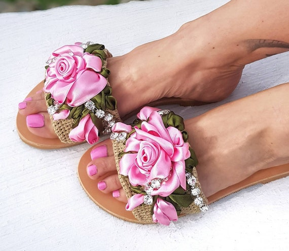 Greek sandals slides/embroidery/pink roses/handmade/crystal sandals/luxury sandals/wedding sandals/women shoes/summer shoes/embellished