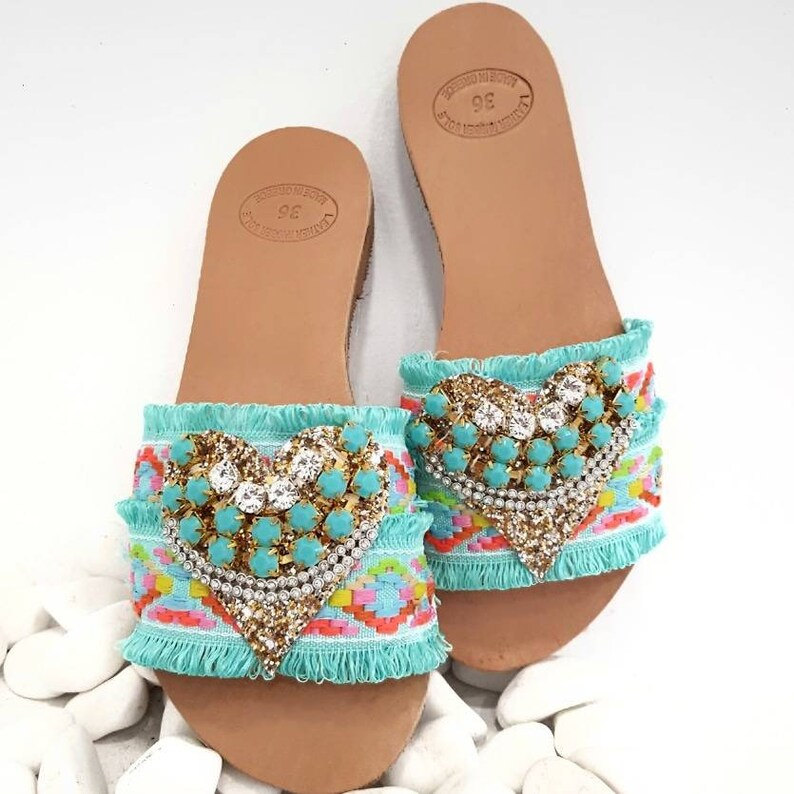 38e818137804 Greek handmade sandals slides boho sandals mint slides