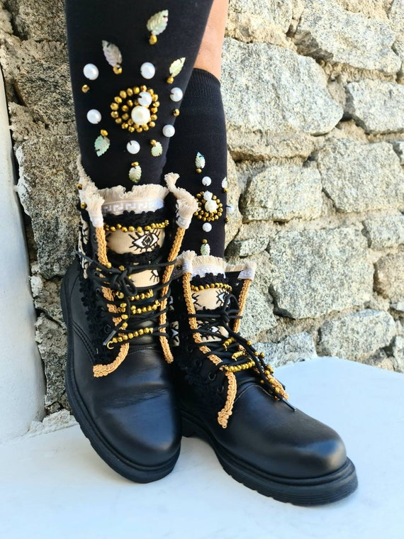 Evil eye boots/evil eyes shoes/bohemian shoes/boho boots/ethnic boots for women/genuine leather/winter boots/handmade boots/luxury/gypsy