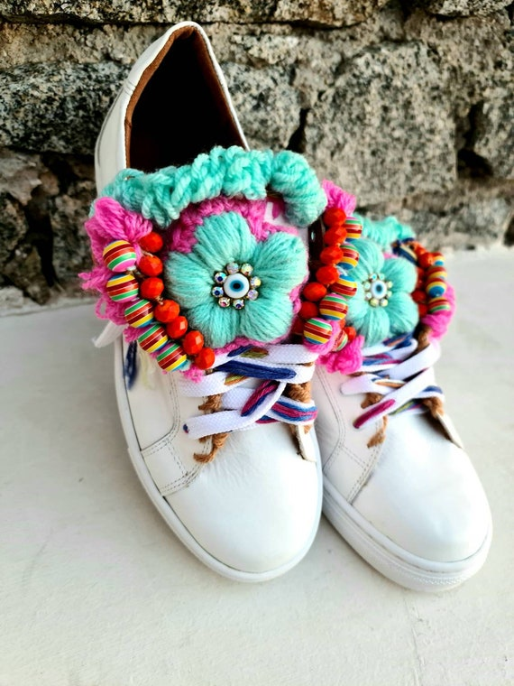 Athletic shoes/embellished sneakers/colorful sneakers/handmade/crochet/bohemian shoes/boho/gypsy/genuine leather sneakers/women shoes/ethnic