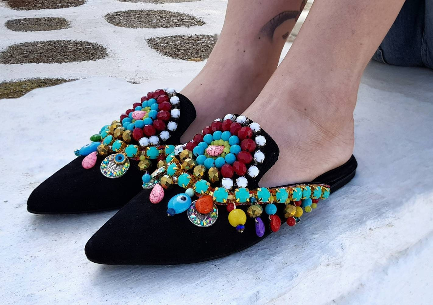 92a1ce026 Greek mules embellished mules sparkle  shoes colorful shoes ...