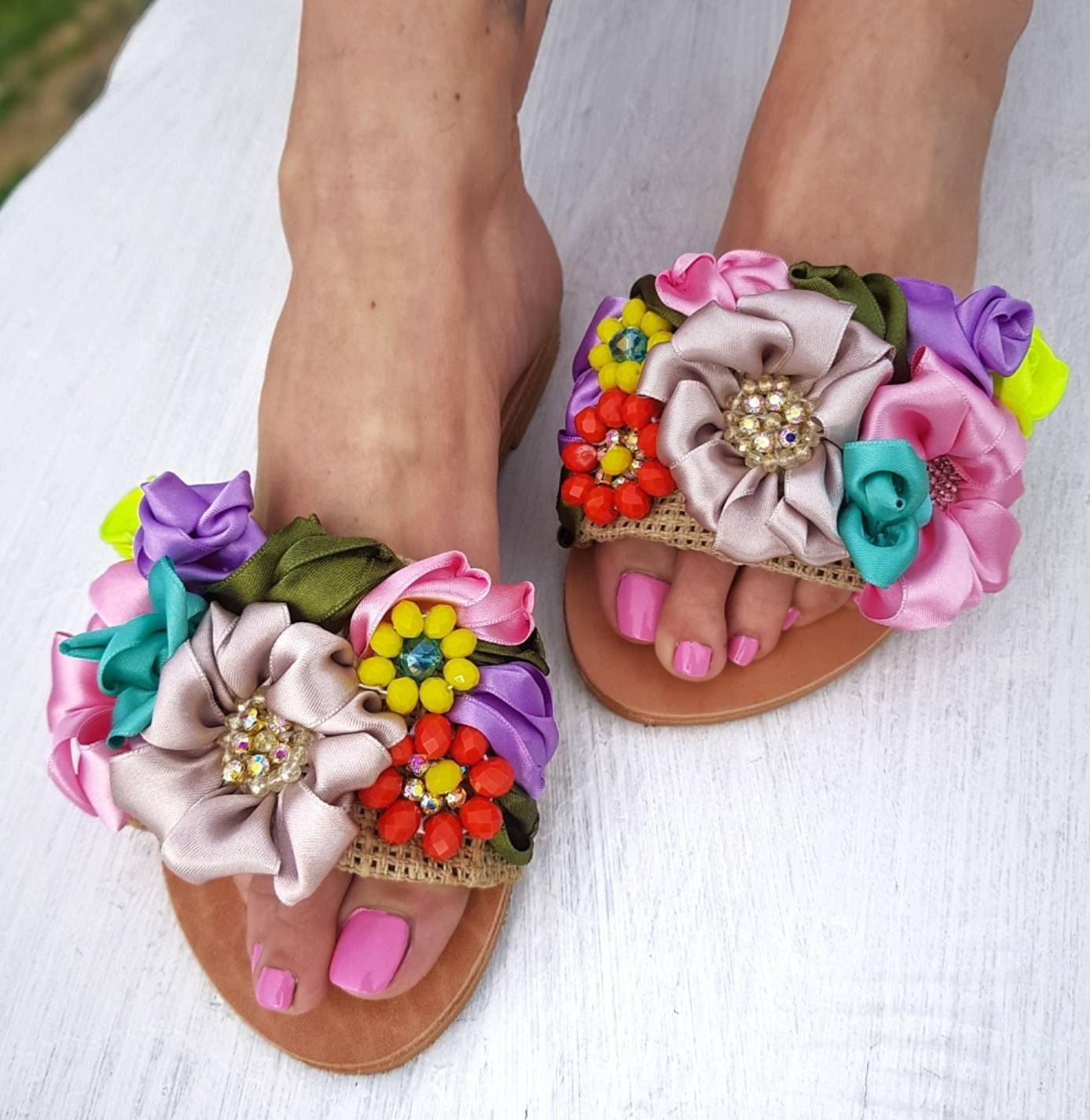 Greek sandals/handmade/embroidery/boho/crystals/colorful