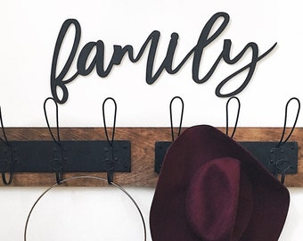 Family Wood Word Cut-Out | Laser Cut Letter Cut-Out | Wall Hanging | Home Decor