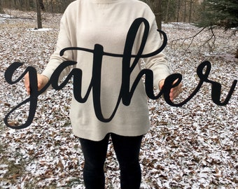 Gather cutout sign | Gather sign | Gather word cut out | Farmhouse decor | Laser cut word sign | Kitchen decor | Dining room decor