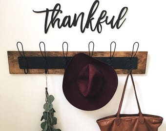 Thankful Wood Word Cut-Out   Laser Cut Letter Cut-Out   Wall Hanging   Home Decor