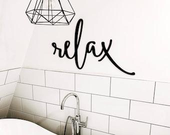 Relax word cutout | Bathroom wall decor | Relax wood sign | Bathroom cut out | Modern farmhouse decor | Bathroom decor