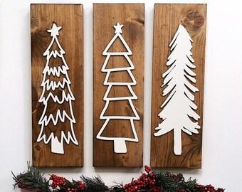 christmas tree wood signs modern christmas decor christmas mantel decor christmas tree signs