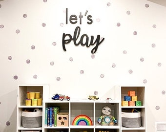 Let's play word cutout | Playroom decor sign | Kids room wall decor | Laser cut out word sign