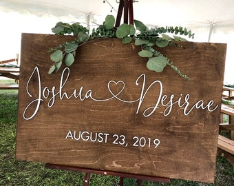 Wedding welcome sign | Family name sign with raised lettering | Family established sign with raised lettering | Wood wedding welcome sign