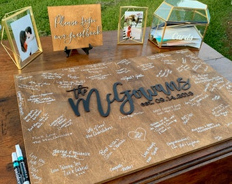 Wedding guest book alternative | Wedding welcome sign | Last name sign | Family name sign | Wedding date wood sign | Wood guest book