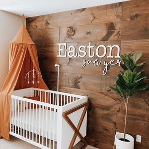 baby nursery decor large custom sign stacked wood sign first middle name Custom two line sign