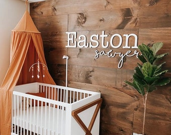 Double baby name sign | Nursery wall decor | Nursery wall hanging | Custom baby name cutout | First & Middle name cut out