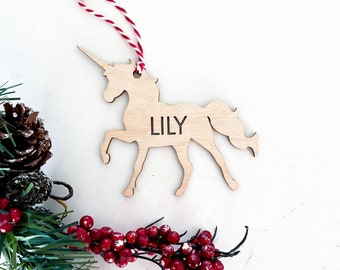 Unicorn shape ornament | Personalized wood Christmas ornament | Custom name Christmas tree ornament | Wooden Christmas tree ornament