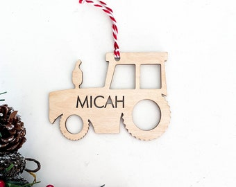 Tractor shape ornament | Personalized wood Christmas ornament | Custom name Christmas tree ornament | Wooden Christmas tree ornament