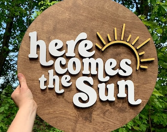 Here Comes The Sun wood sign | wood wall decor | cute nursery sign | Beatles song sign