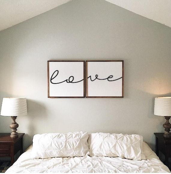 Above Bed Sign Bedroom Decor Love Wood Sign Framed Wood Etsy