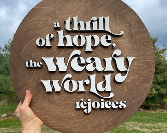 A thrill of Hope the weary world rejoices wood sign | Christmas wood wall decor |