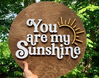 You are my sunshine wood sign | wood wall decor | cute nursery sign | playroom wall decor