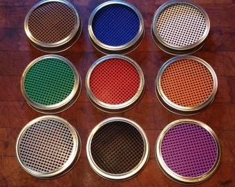 One Colored Screen with Wide Mouth Mason Jar Lid and Ring