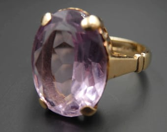 Antique, art deco yellow gold large oval purple stone ring, size 6.5