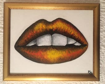 The Fall Orange and Yellow Lips Painting