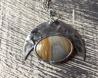 down to earth - picture jasper crescent moon necklace