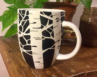 Birch Tree Mug. Coffee Mug. Hand drawn. Black and White. Creative Mug.