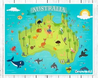 Australia Underwater Map.Map Of Australia Children S World Map Australia Animal Map Etsy