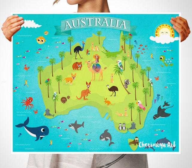 Australia Animal Map Kids Maps Map of Australia Kids Wall Maps | Etsy