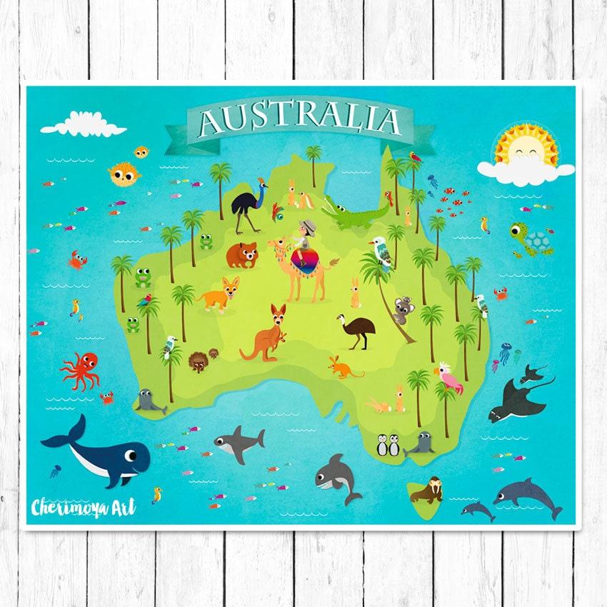 Full Map Of Australia.Map Of Australia Children S World Map Australia Animal Map Etsy