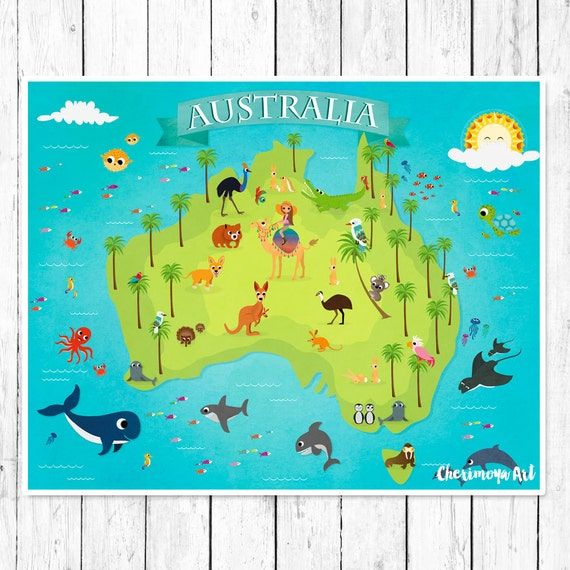 Australia Animal Map Kids Maps Map of Australia Kids Wall Maps Children\'s  World Map Baby Gift Nursery Map Australia Map Poster Girl Art