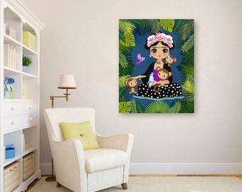 Frida Kahlo Art Frida Kahlo Print Frida Kahlo Wall Art Frida Kahlo Canvas Frida Kahlo Illustration Girls RoomsDecorGirl Gift Kids Decor