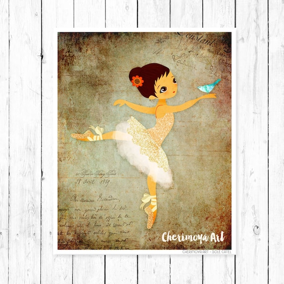Ballerina Wall Art Print Nursery Decor Girl Room Decor