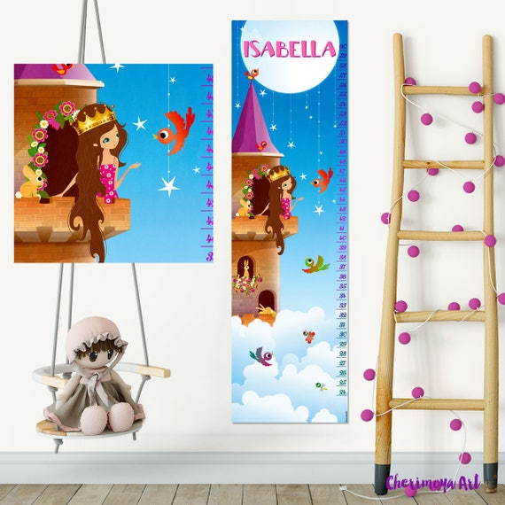Princess Growth Chart Princess Bedroom Decor Personalized Etsy