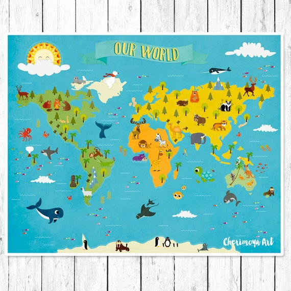Kids World Map Personalized Baby Map Nursery world map | Etsy