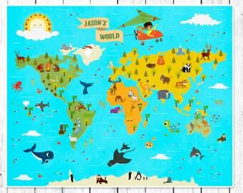 personalized kids world map nursery world map childrens world map maps for kids world map for children nursery wall decor animal world map